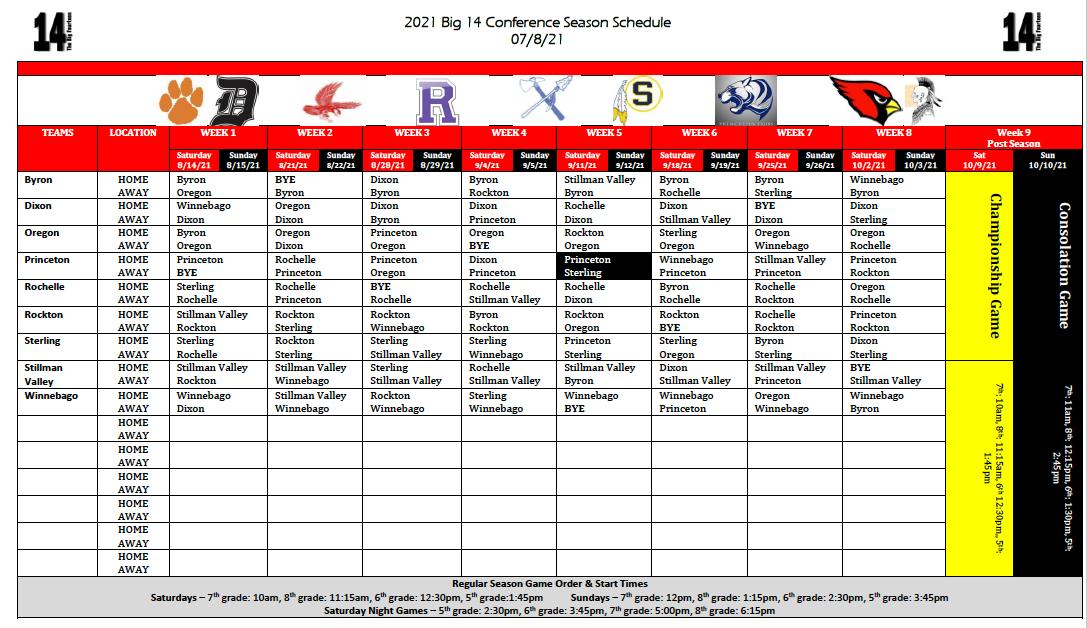 Big 14 Schedule