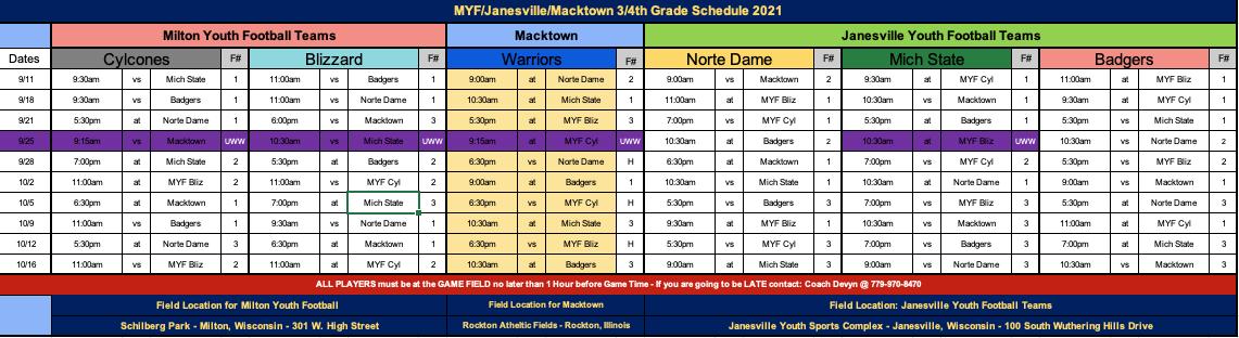 3RD & 4TH Grade Schedule